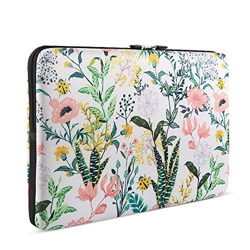 Laptop Sleeve, iCasso 13-13.3 Inch Stylish Flower Pattern Canvas Stitching Leather Briefcase Cover Case Bag for MacBook Air/Pro/Ultrabook/Notebook/iPad Pro - Floral