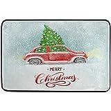 Taoshi Acuarela Navidad Rojo Retro Alfombrillas de Coche Alfombrilla de baño de Cocina, Año Nuevo Invierno Camión Entrada Frontal Cuarto de baño Camino de Entrada Felpudo