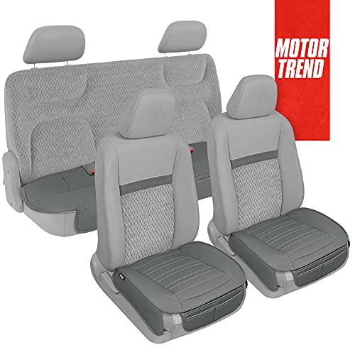 Motor Trend Gray Faux Leather Car Seat Covers Full Set with Front & Back Seat...