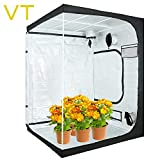 VERTOR VT 60'x60'x80' Reflective Mylar Hydroponic Grow Tent with Observation Window and Waterproof Floor Tray for Indoor Plant Growing 5x5 (for 6 Plants)
