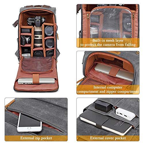 UBAYMAX Kamerarucksack Kameratasche, Wasserdicht Canvas Leinenstoff und Echt-Leder DSLR Rucksack, 15,6 Zoll Laptop Rucksack, Fotorucksack für Kamera Zubehör und Outdoor Sport Reise (Dunkelgrau)