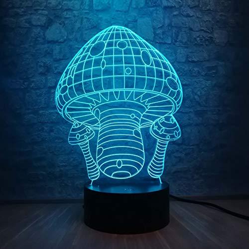 Sanzangtang Led-nachtlampje, 3D-7 kleuren, afstandsbediening, schattige kleurrijke paddenstoel, licht, nachtlampje, baby-, slaapkamerdecoratie, tafellamp, kinderen, verjaardag, kerstcadeau, nachtlampje