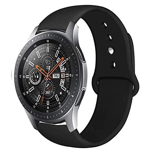 Compatible Samsung Gear S3 Frontier/Samsung Galaxy Watch 46mm Bands,22mm Silicone Breathable Replacement Strap Quick-Release Pin for Gear S3 Frontier Smart Watch (Black)