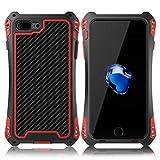 iPhone8 ケース Feitenn アルミニウム合金 ケース メタルバンパー 耐衝撃 全面保護 重感 軍用最強ケース black+red