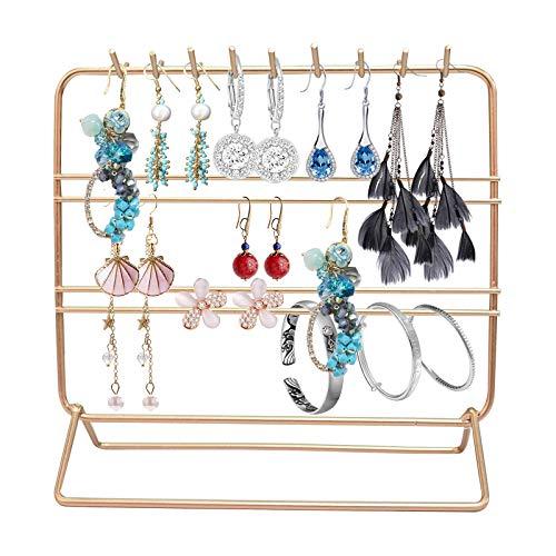 Chstarina Soporte para Joyas Soporte Organizador de Metal Estante Joyas para cosméticos, anillos, collares, pulseras, pendientes, estante de almacenamiento