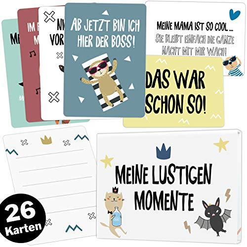 26 lustige Babykarten für Junge und Mädchen hochwertige Meilensteinkarten Set + Magnetbox, Ideales Geschenk zur Geburt, Taufe oder Babyparty (Meine lustigen Momente)