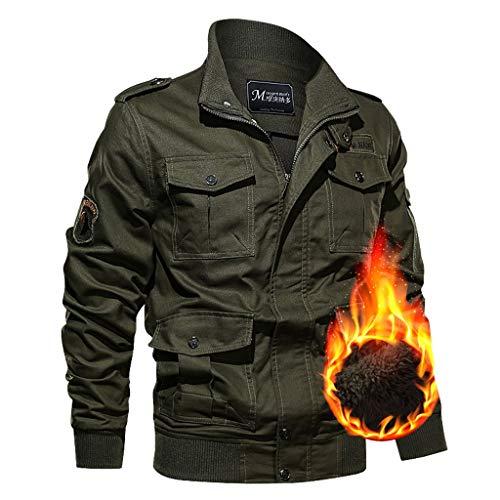 DNOQN Jacke Herren Herbst Winter Outwear Samt Verdickt Multi-Pocket Übergröße Jacke Mantel Strickpullover Herren Kapuzenpullover Freizeitjacke Herren