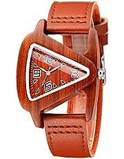 Sweetbless出品 腕時計 木製 クォーツ 男女兼用 三角形 腕時計 彫り ウッド ウォッチ 天然木珍しい時計 革バンド