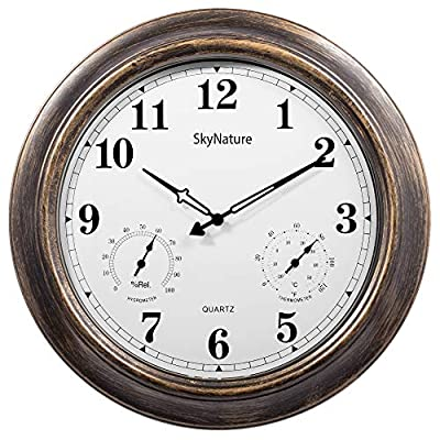 Outdoor Clocks with Thermometer and Hygrometer - 18 Inch Silent Battery Operated Metal Clock,Wall Decorative for Patio,Pool
