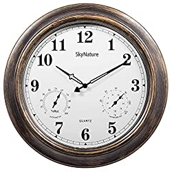 Large Outdoor Clocks with Thermometer and Hygrometer - 18 Inch Silent Battery Operated Metal Clock, Decorative Garden Clock for Patio,Pool and Home - Bronze