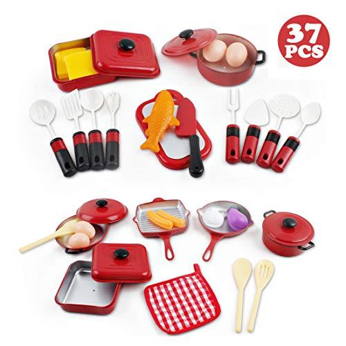 deAO Set Utensili da Cucina e Cibo Giocattolo - Set di Pentole e Padelle di Imitazione Accessori da Cucina per Bambini (30 Pezzi)