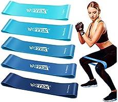 WOTEK Elastici Fitness, Bande di Resistenza Fitness Fasce Elastiche di Lattice con 5 Livelli di Resistenza per Fitness,...