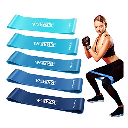WOTEK Bandas Elasticas Fitness, Cintas Elasticas Musculacion Goma Elastica Fitness Bandas Elasticas Musculacion Bandas De Resistencia para Yoga,Fuerza,Fisioterapia,Crossfit,Pilates,Estiramientos