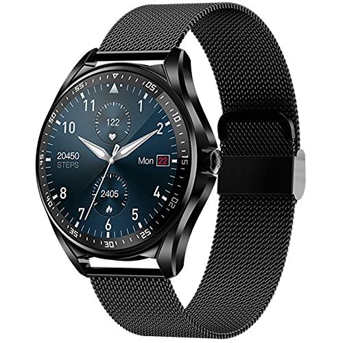 shjjyp SmartWatch Reloj Inteligente Redondo Hombre IP67 con Pantalla Táctil de 1.28'' Pulsera Actividad Inteligente Hombre para Deporte Monitor de Actividades Compatible con iOS Android