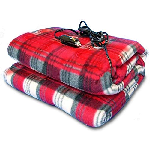 Zone Tech Car Travel Blanket –Premium Quality 12V Automotive Red Plaid Polar Fleece Material Comfortable Seat Blanket Great for Winter, Home, Road Trip and Camping