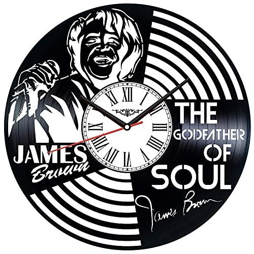 showyow James Brown Vinyl LP Record Wall Clock Idea 12 Pouces, Vintage DIY Wall Clock Poster Silhouette, Home Decor Art Cadeaux Faits à la Main Uniques pour Les Enfants et Les Amis