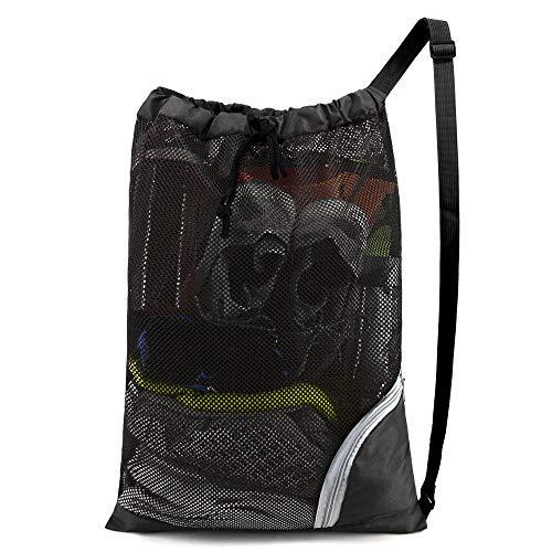 "BeeGreen Swim Bag Mesh Beach Bag Swimming Bag Large Pool Bag W 17.7"" x L 25.5"" Net Bag for Swimmers Men Gear Gym Sport Equipment Drawstring Bag Lightweight Foldable Washable Black"