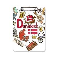 デンマークの愛の心の風景の国旗 フラットヘッドフォルダーライティングパッドテストA4