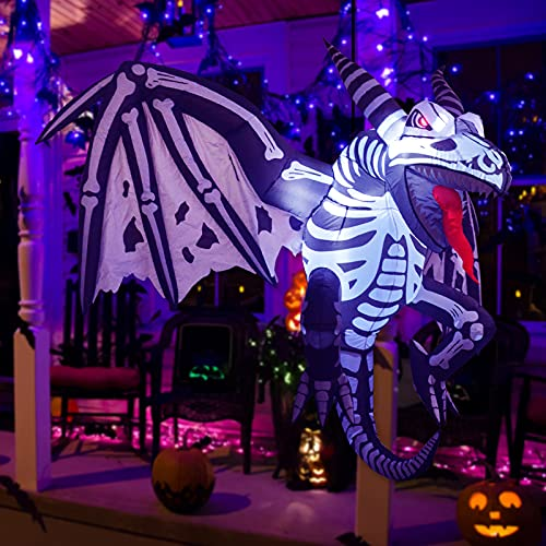 GOOSH 7 FT Length Halloween Inflatable Outdoor Hanging Big Wings Skeleton Dinosaur, Blow Up Yard Decoration Clearance…