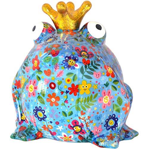 Pomme Pidou   Spardose Keramik   Frosch Freddy   Large   Blau   Keramik Spardose mit Münzschlitz und sehr schönes Dekorationsstück   inkl. GRATIS Geschenkbox