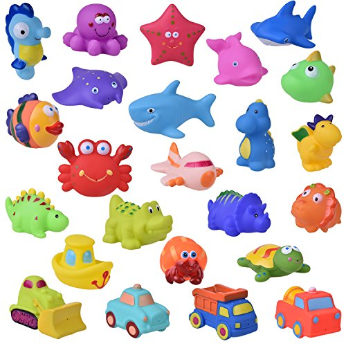 FUN LITTLE TOYS 24 PCs Bath Toys for Toddlers, Sea Animals Squirter Toys Kids, Car Squirter Toys Boys, Bath Toy Organizer Included Kids Party Favors, Goodie Bag fillers
