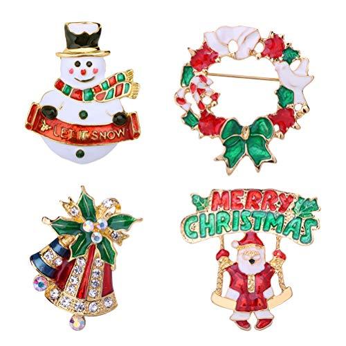 STOBOK Broches Navideños en Forma de Muñeco de Nieve y Campana Corona de Navidad Papá Noel para Niños Decoracion de Navidad 4 Piezas
