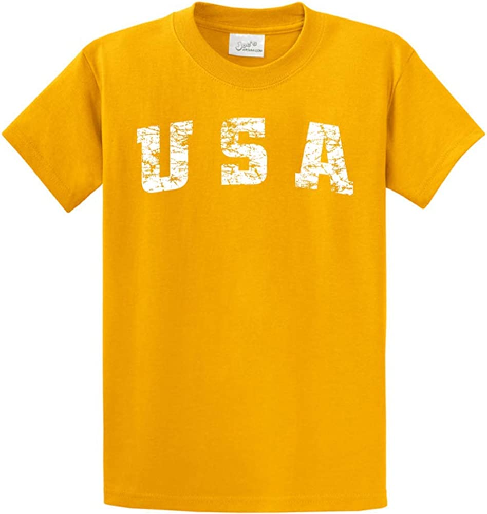 Joe's USA -Tall Vintage USA Logo Tee T-Shirts in Size Large Tall - LT Gold