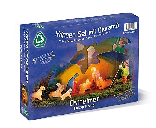 Krippen Set mit Diorama 11-teilig, Ostheimer 60205