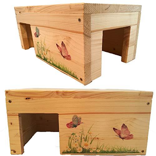 Nagerhaus Schmetterling Meerschweinchen Hamster Gehege Zubehör Kleintierhaus mit 2 Eingängen, Stabil & Holzlasur
