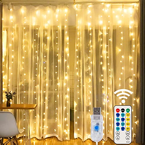 HOME LIGHTING Window Curtain String Lights, 300 LED 8 Lighting Modes Fairy Copper Light with Remote, USB Powered for Christmas Party Wedding Home Decorations (Warm White)
