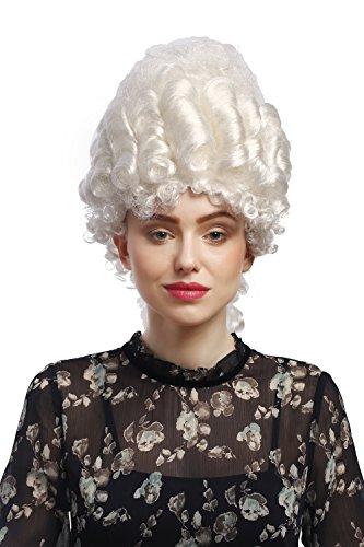 WIG ME UP - 91029-ZA62 Parrucca Donna Carnevale Barocco Storico Nobile Bianco Maria Antonietta Pompadour Acconciatura Beehive 50 cm
