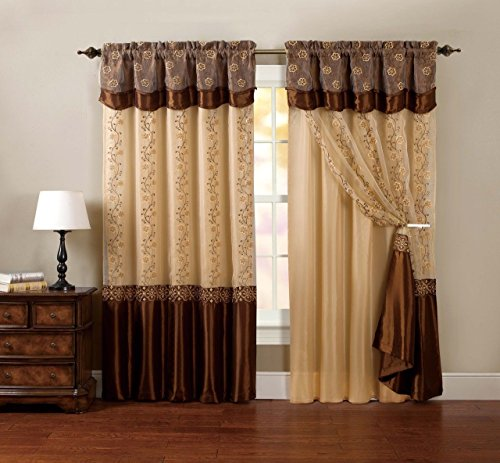 One Piece Window Curtain Drapery Sheer Panel: Chocolate Brown, Attached Backing