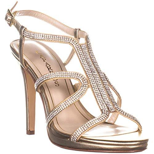 Caparros Women's Shoes Pizzaz Fabric Open Toe Slingback Classic, Gold, Size 6.0