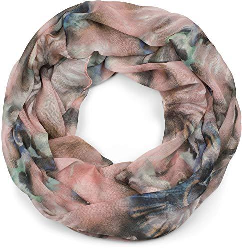 styleBREAKER Dames Lichtgewicht lusjes sjaal met aquarel batik bloemmotief, buissjaal, sjaal 01016200