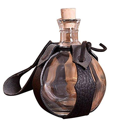 Battle-Merchant Kugel - Feldflasche aus Glas mit Gürtelhalter aus Leder 0,2 Liter Feldflasche Trinkflasche LARP Mittelalter Wikinger Lager