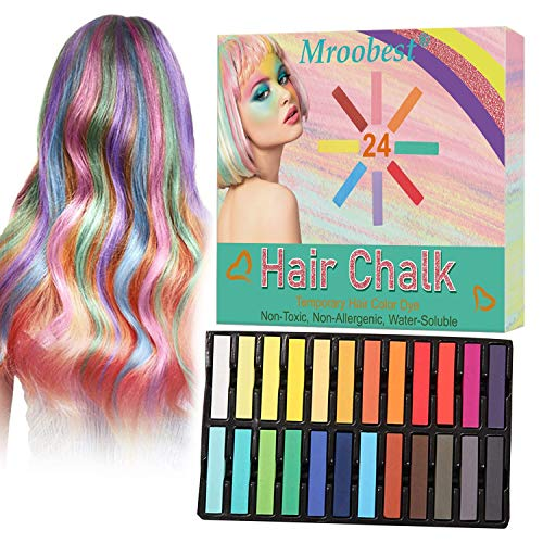 Hair Chalk, Temporary Hair Chalk, Hair Chalk Pens, Washable Hair Color, Fun DIY Gifts on Birthday, Holiday, Costume Cosplay Party, Safe for Kids & Adults, 24Colors