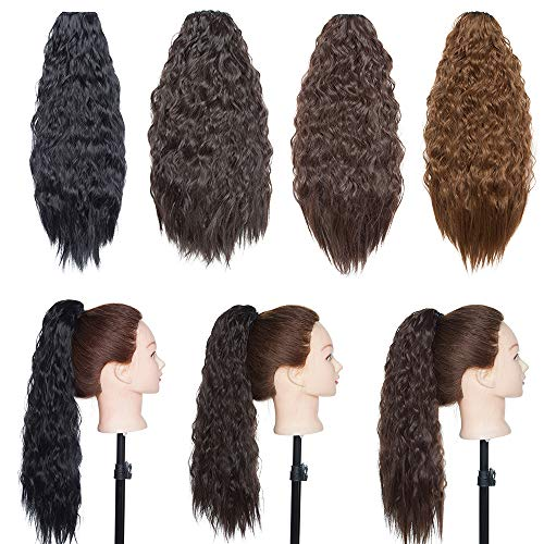 Haarteil Dutt Haar Extensions Ponytail Corn Wavy Haargummi Haarknoten Haarband Hochsteckfrisuren Zopf Dunkelbraun