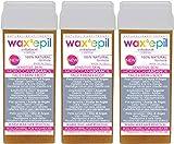 WAXEPIL roll-on cartuchos 3*MOROCCAN ARGAN OIL* PIEL SECA, SENSIBLE depilación cartucho rodillo cera depilatoria tibia roll on profesional – 3x100ml recarga (1=€2,99)
