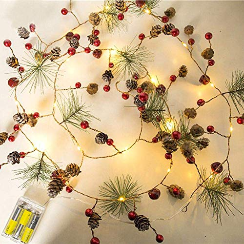 Christmas Pine Cones Garland Wreath LED Fairy String Lights Battery Operated Indoor Outdoor Decor for Xmas Tree Party Wedding Home Bedroom Wall Garden Ornament Decoration
