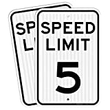 (2 Pack) Speed Limit 5 MPH Sign, 18 x 12 Inches Engineer Grade Reflective Sheeting, Rust Free Aluminum, Weather Resistant, Waterproof, Durable Ink, Easy to Mount