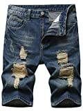 Grimgrow Long Shorts for Men, Casual Slim Fit Short Jeans Destroyed Knee Length Hole Ripped Denim Shorts Retro Blue 34