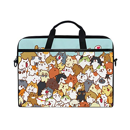 AGONA Cartoon Cute Cats Animal Laptop Shoulder Messenger Bag 15 inch Case Sleeve for 14 Inch Laptop Case Laptop Briefcase Compatible Notebook MacBook Ultrabook Chromebook