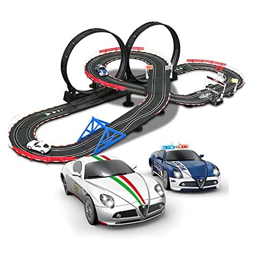 Pista Coches Regalo Slot Cars-Rails Educational Carry Racing Carring Set Garaje Garing Gliding Pista Modelo Incluido 2 Autos y 2 a Mano RC Controladores perfectos para Regalos de cumpleaños y favores