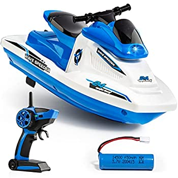 Force1 Wave Speeder RC Boat - Remote Control Boat for Pool and Lake Long Range Radio Controlled Motor Boat with Waverunner Boat Battery USB Charging Cable and 2.4GHz Remote Control  Blue