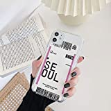 TPU Soft Case Cell Phone Case Back Cover,Transparent, Airline Ticket,Plane tick, Seoul for iPhone 11