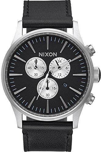 Nixon Unisex Erwachsene Chronograph Quarz Uhr mit Leder Armband A405-000-00