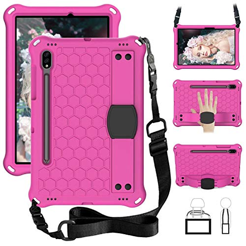 QYiD Kids Case for Galaxy Tab S6 10.5' 2019 SM-T860/T865, Kids Friendly Light Weight EVA Shockproof Case with Handle Stand, Pencil Holder & Shoulder Belt for Galaxy Tab S6 10.5 inch 2019, Rose/Black