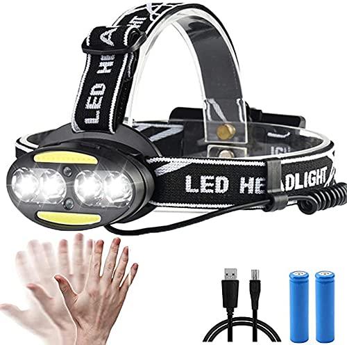 Linterna Frontal LED Recargable, con Sensor, 90°Ajuste, 5 Modos de Luz, Luces de Advertencia Traseras, para Actividades al Aire Libre Como Camping / Expedición / Pesca