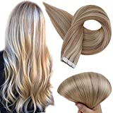 Full Shine Tape in Hair Extensions Human Hair 18/613 Ash Blonde Highlighted Color 18 Inch Seamless Skin Weft Adhesive Tape Real Human Hair Skin Weft