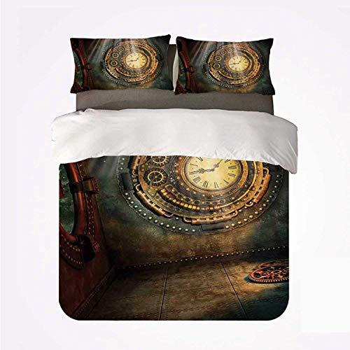 Juego de Funda nórdica Fantasy House Decor Nice 3 Juego de Cama, Escena de fantasía con Reloj Dream Sky de The Ceiling Fiction Art Stars para la Sala de Estar